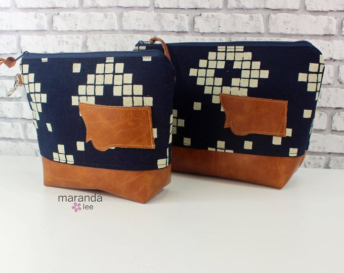 AVA Clutch -2 Sizes - Indigo Tiles with Montana Patch  READY to SHIp