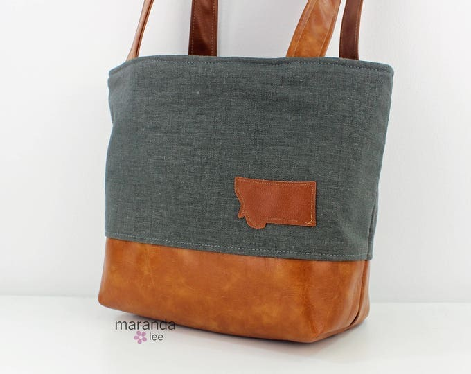 Lulu Medium Tote - Charcoal Linen with Montana Patch EADY to SHIP
