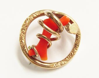 Antique Victorian Red Coral Branch Infinity Protection Brooch Gold Filled