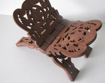 Vintage Wooden Folding Book Rest / Book Display / Bible Display / Cookbook Display