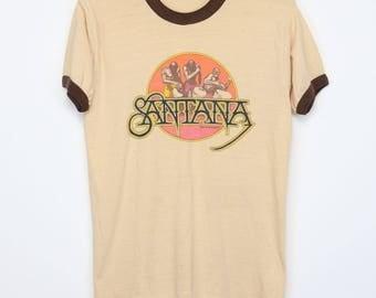Santana Shirt Vintage tshirt 1976 Amigos Promo tee 1970s Mexican American Latin Rock Band Psychedelic Acid Chicano Blues Music 70s