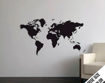 World Map Wall Decal - Earth, Continents, Geography - Vinyl Sticker