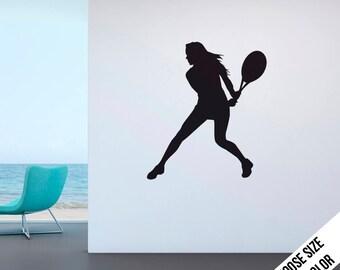 Women's Tennis Backhand Wall Decal - Girl's Tennis - Vinyl Sticker