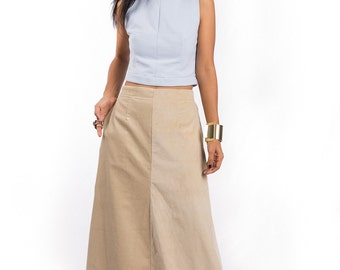 Maxi Skirt, Beige skirt, Corduroy skirt, long skirt, floor length skirt : Feel Good Collection No. 4