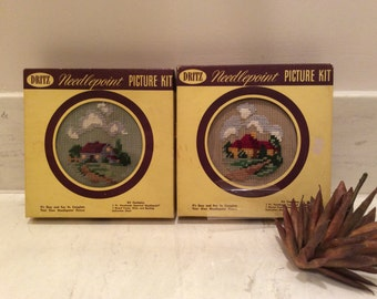 Vintage Pair of  Dritz Imported  Needlepoint Picture Kits with Round Wood Frame with Glass, Vintage Needlepoint Project