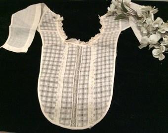 Vintage Lace and Batiste Cotton Windowpane Chemisette Collar, Antique Lace, Antique Collar, Grandmom's  Lace