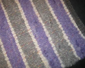 Purple White Rug Bedroom Nursery Throw Rug Gift Room Accent Rectangle Alpaca Natural Fiber Easy Clean American Made Floor Mat Home Decor