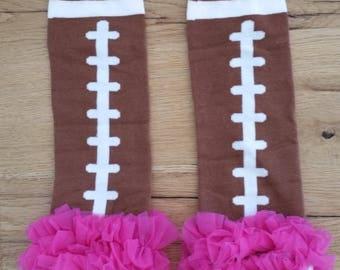Super Bowel Baby / Toddler Football Leggings / Leg Warmers Pink Ruffle