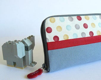 Handmade women spotty wallet // red-grey-ecru-pale blue spots printed fabric women wallet-gift for her- gift for wife