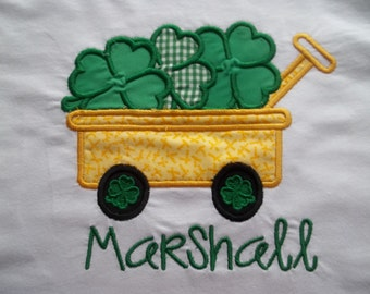Wagon full of clovers - Saint Patrick's Day - Short Sleeve Appliqued Tshirt - Infant and Toddler Size Tshirt - 6 months to 5/6