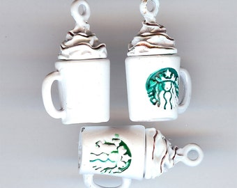 COFFEE Charm. Enameled Metal. 3D Cup. Latte. Cappuccino. Barista. Mug. Whipped Cream. Hot Drink. Cocoa.