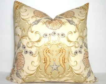 Seahorse Pillow Cover Decorative Nautical Throw Pillow Cover Choose Size
