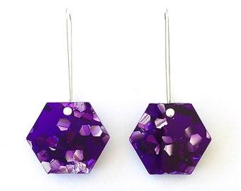 Hexie Glitter Drops - Amethyst Purple Glitter - Each To Own - Geometric Laser Cut Earrings