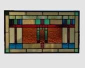 Arts and crafts stained glass panel window hanging amber stained glass window panel mission prairie style 0182 20 x 11 3/8