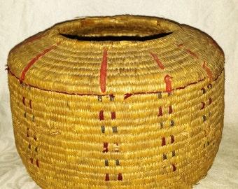 Vintage Antique Eskimo Alaskan Inuit Native American Coil Basket