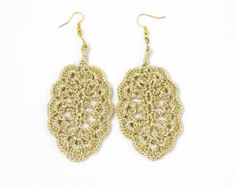 Crochet earrings Statement jewelry Lightweight big dangle leaf earrings Large leaves Gold tone golden Silver yarn Gift for her Boho chic