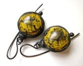 RESERVED - Don't Let Anybody Tell You Different - primitive vintage soldered rusty mustard yellow tin hollow bauble bead black metal earring