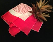 Vintage Ladies Hankies , Vintage Handkerchief, Vintage Red and White Handkerchief, Vintage Linens, Vintage Accessories