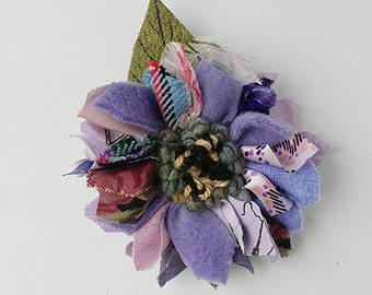Fabric and leather corsage, brooch, pin on flower, lapel pin, rag rug flower, lilac shades