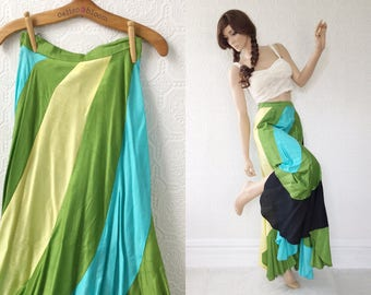 Boho Maxi Skirt, Twirling Skirt, Black, Aqua & Green Stripes, Floor Length, Scalloped Hem, Silky Taffeta, Ladies Size 1 or 2, XS, Vintage