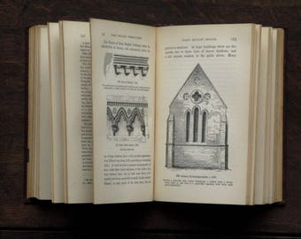 Antique Gothic Architecture book, 1900s vintage book, Introduction to Gothic Architecture