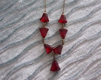 Vintage Red Glass Open Back Necklace LOVELY