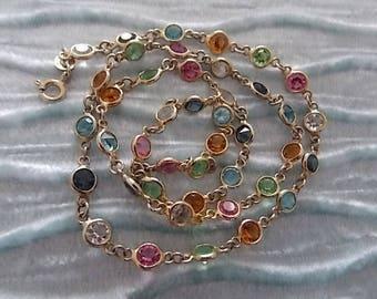 Vintage Glass Silver Gilt Bezel Open Back Italian  Necklace Pretty