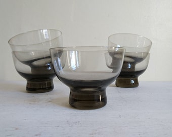 Vintage Smoked Glass Dishes, Danish Style, Nordic Style, Circa 1970.
