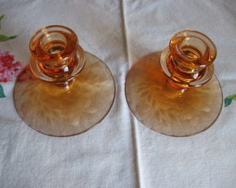 Peach Pink Depression Glass Candlesticks with Etched Flowers