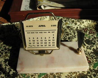 Perpetual Desk Calendar with Marble Base