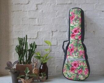Concert ukulele case - Pink Floral Ukulele Case (Ready to ship)