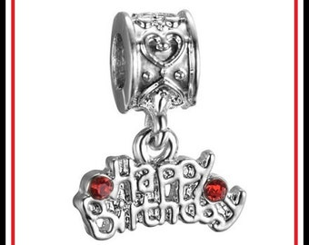HaPPY BIRTHDAY - Fancy Heart Design on Upper Bail - Shiny Dangle Charm Bead with Red Rhinestones - Crystals - fits European Bracelets - MD
