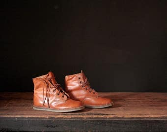 Vintage leather toddler boots, old shoes
