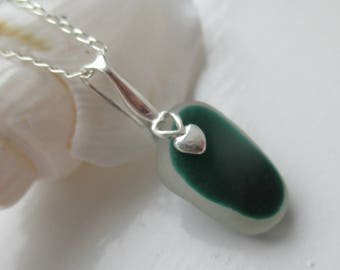 Green End Of Day Sea Glass Sterling Silver Necklace