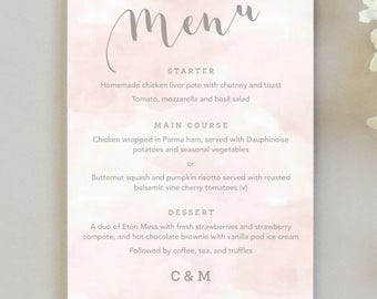 Romance wedding menu cards