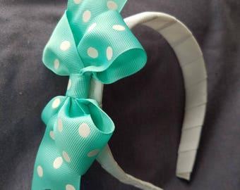 Aqua Polka Dot Grosgrain Bow on a Headband
