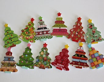 Assorted Christmas Tree Buttons - Wood - 10 ct