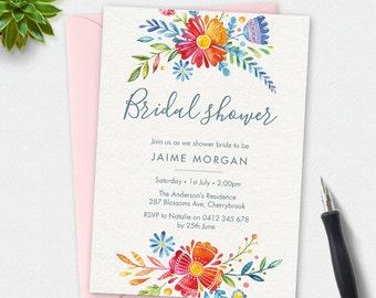 Bridal shower invitation, modern floral invitation, watercolor Invitation, custom invitation, printable invitation, bridal shower party