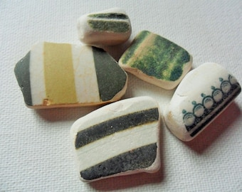 Green and cream sea pottery - 5 Lovely English beach finds from Lancashire NW England