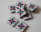 Polymer Clay Sewing Buttons, quilt block tiles for jewelry and crafts