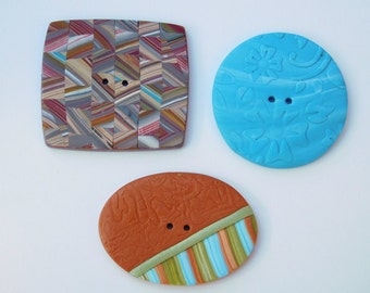 Polymer Clay Sewing Buttons, set of 3 decorative buttons