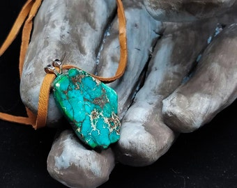 Simple Jasper Pendant, Green Gemstone, on Tan Leather Cord Necklace with Silver Backing and Bail
