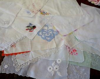 Vintage Handkerchief Lot 20 Hankies Bag ONE, Destash Hankie Lot 20 Hankies Embroidery Crochet Lace