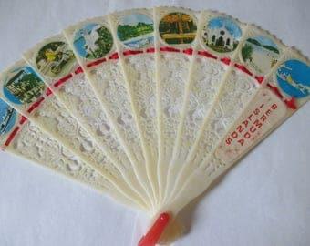 Vintage Bermuda Islands souvenir fold out fan