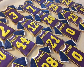 Personalized Football Jersey Sugar Cookies