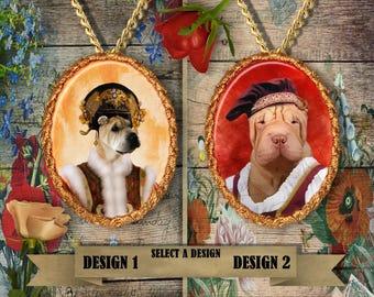 Shar Pei Jewelry. Shar Pei Pendant or Brooch. Shar Pei Necklace. Shar Pei Portrait.Custom Dog Jewelry by Nobility Dogs. Dog Handmade Jewelry