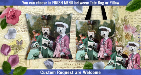 West Highland White Terrier Pillow or Tote Bag. Westie Art. Dog Tote Bag. Dog Pillow. Custom Dog Portrait. Personalized Dog.