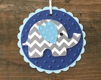 Elephant Baby Tags - Baby Boy Elephant Tags - Navy Blue Gray - Baby Shower Favor Tag