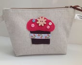 Fabric Cosmetic Bag with Cupcake Embellishment  Handmade in Scotland