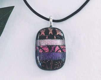 Dichroic glass pendant - Fused glass, Etched patterns, different shades of purple & pinks